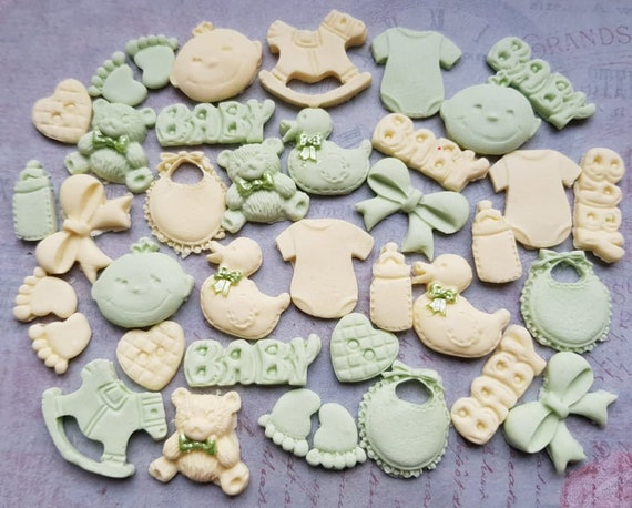 36 Edible sugar baby boy christening baby shower cake cupcake toppers decorations neutral colours