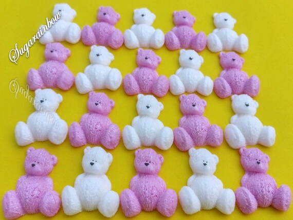 20 Edible sugar AIRBRUSHED baby shower decorations teddy bears cake toppers Pink/White