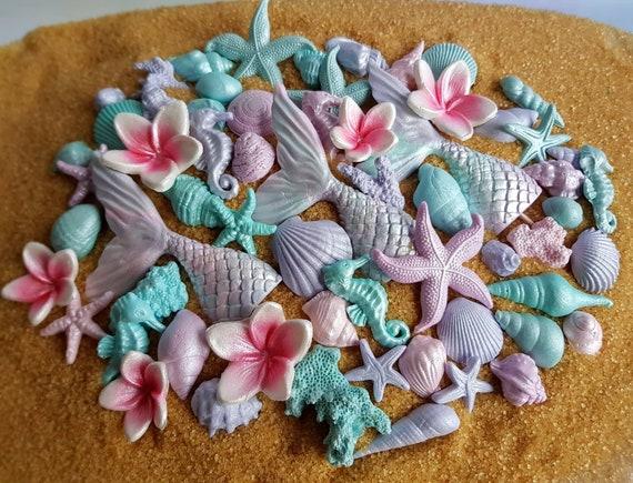 Edible sugar shells, fondant mermaid tail, sugar starfish, fondant starfish, fondant shell, gum paste shells, mermaid cake topper. SET of 59