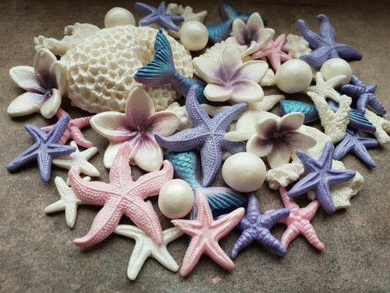 40 Edible sugar cake decorations shells sea stars corals pearls mermaid tails cake cupcake toppers