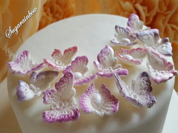 12 Edible Airbrushed sugar butterflies decorations  for cake cupcake toppers with pearl shimmer