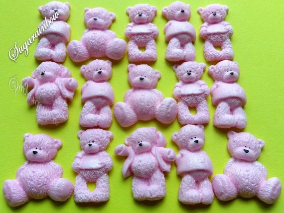 22 Edible sugar AIRBRUSHED baby shower decorations teddy bears cake toppers Pink