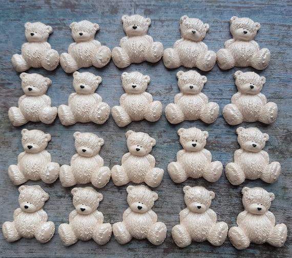Edible teddy bear, sugar teddy bear, sitting bear topper, baby shower topper, latte sugar bear, teddy bear topper. SET of 24 pieces