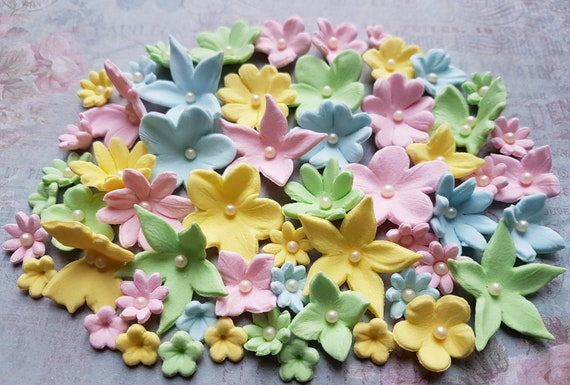 56 Edible sugar paste fondant flowers butterflies cake cupcake toppers decorations pastel colours