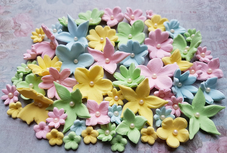 56 Edible sugar paste fondant flowers butterflies cake cupcake | Etsy