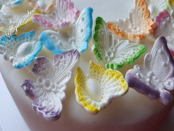 18 Edible Airbrushed sugar butterflies decorations  for cake cupcake toppers with pearl shimmer