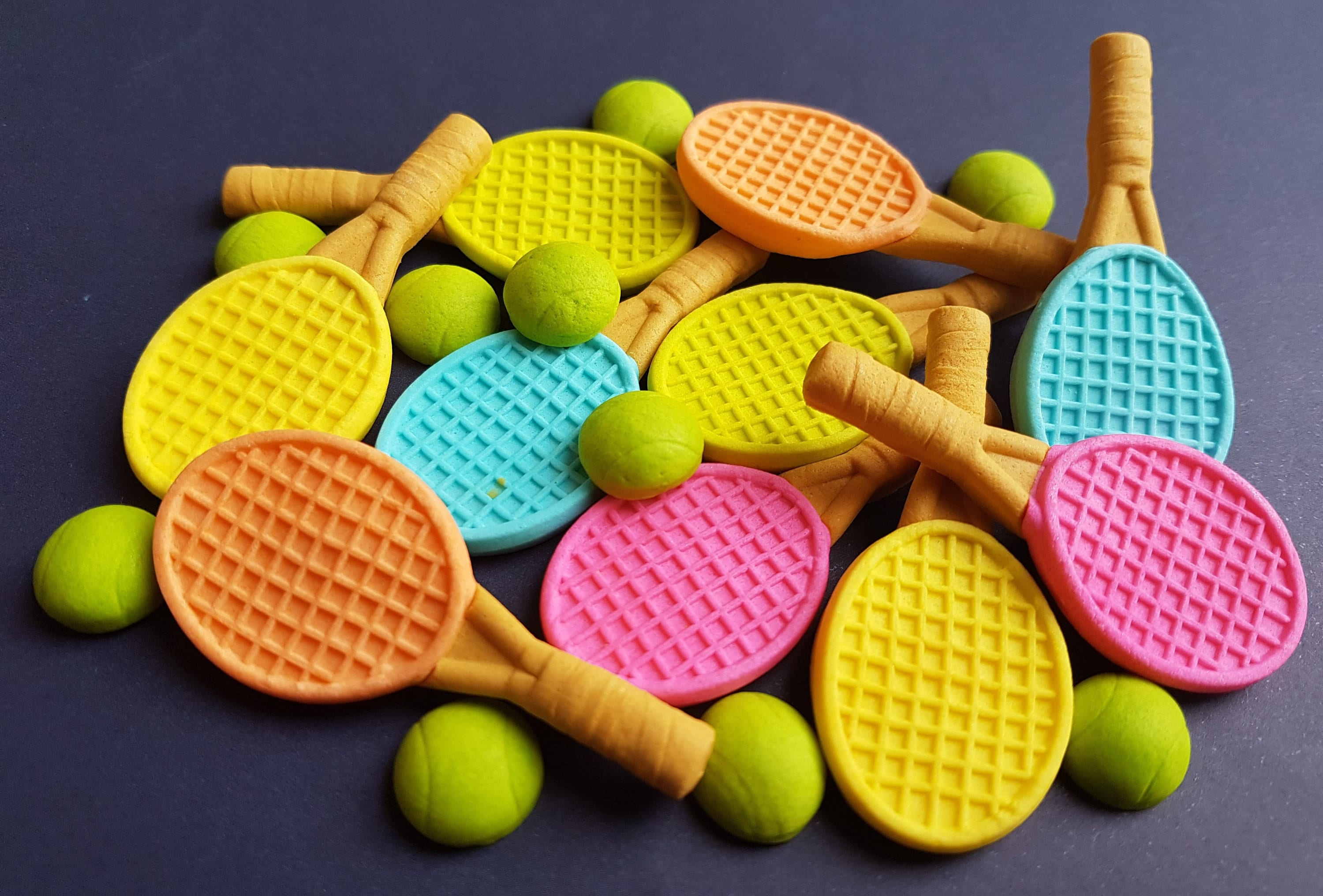 10 Edible Sugar Paste Fondant Rackets 10 Tennis Balls Cake Cupcake