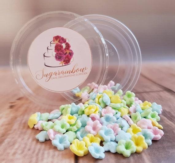 100 edible sugar paste fondant flowers cake cupcake toppers decorations multicoloured pastel