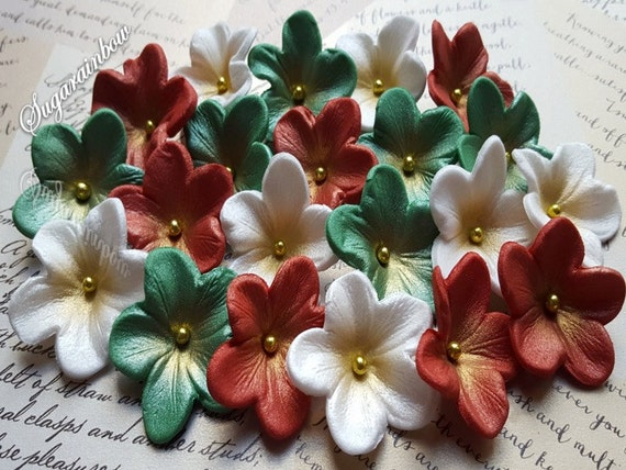 20 Edible sugar paste flowers cake cupcake toppers decorations Christmas red/green/White (AIRBRUSHED with GOLD)