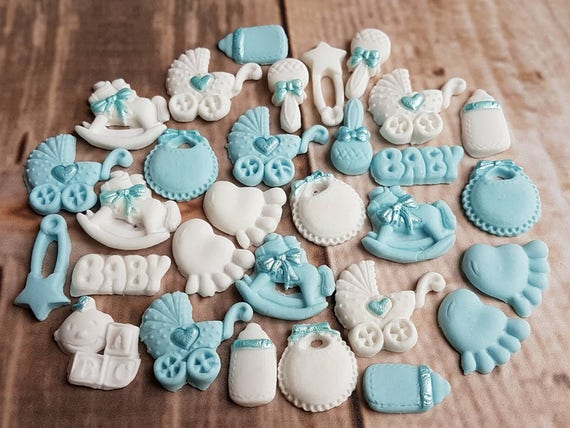 30 Edible sugar baby boy christening baby shower cake cupcake toppers decorations
