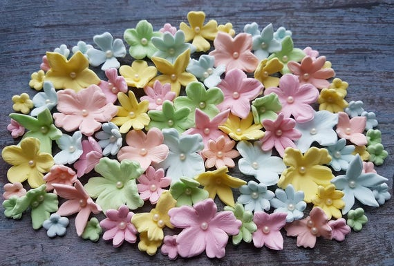 90 Edible sugar paste fondant flowers butterflies  cake cupcake toppers decorations pastel colours