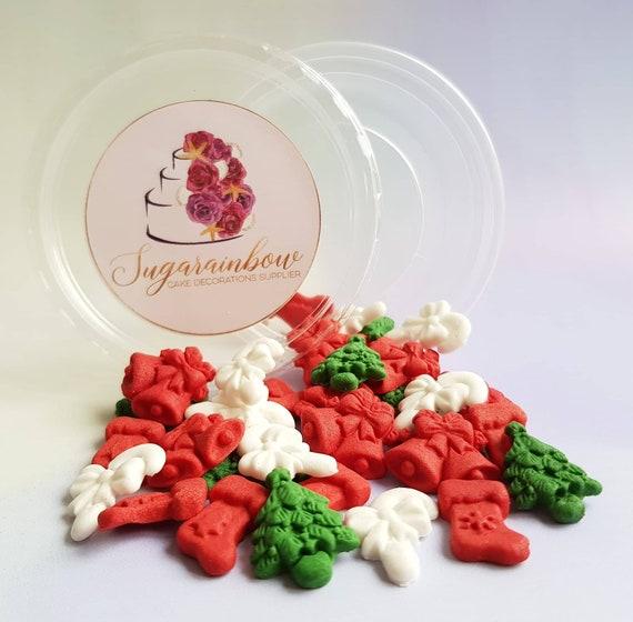 36 Edible sugar paste Christmas cake cupcake decorations bells trees socks sticks
