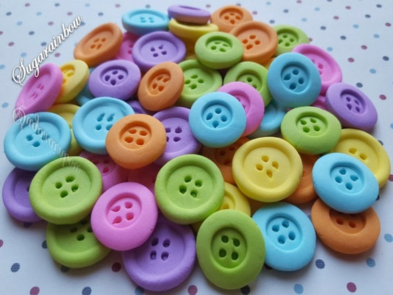 50 Edible Sugar buttons decorations kids party cake cupcake toppers bright colors