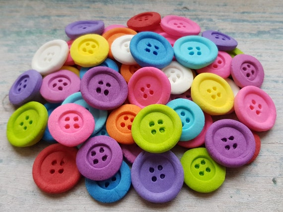 50 Edible sugar gum paste buttons decorations kids party cake cupcake toppers bright colours