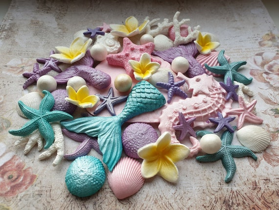 40 Edible sugar cake decorations shells starfish corals pearls mermaid tail seahorse plumeria cake cupcake toppers