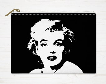 Marilyn Monroe Pouch, Modern Cosmetic Bag, Marilyn Makeup Bag, Small Toiletry Bag, Large Pencil Case, Black White Accessory Bag