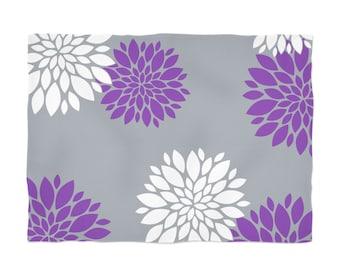 Floral Fleece Blanket, Purple Grey Blanket, White Purple Throw, Flower Throw Blanket, Pattern Throw, Soft Fleece Blanket, Grey Throw Blanket