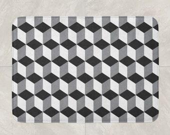 Geometric Bath Mat, Foam Bath Rug, Modern Bath Mat, Black Bathroom Decor, White Grey Black Mat, Squares Bath Mat, 3D Pattern Mat