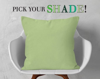 Green Throw Pillow, Decorative Pillow, Light Green Cushion Cover, Dark Green Pillow, 14x14 16x16 18x18 20x20, Bright Green Pillow Case