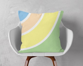 Decorative Pillow, Throw Pillow, Retro Style Cushion, Pink Orange Cushion, Sofa Decor Cushion, Green Yellow White, 16x16 18x18 20x20