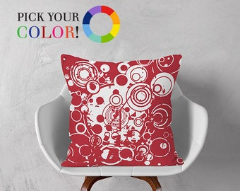 Decorative Pillow, Abstract Throw Pillow, Pillow Cover and Insert, Red Blue White Green Orange Brown Yellow Pink, Circle Pattern Pillow