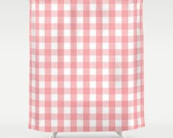 Pink Shower Curtain Large Checkered Modern Box Check Bath 71x74