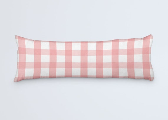 Pink Body Pillow Pink Plaid Cushion Large Long Pillow Checkered Bed Clothes White Pink Pillow 20x54 Pillow Cover Body Pillow Case