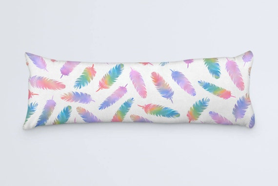 Boho Feathers Body Pillow Colorful Large Pillow Case Bohemian Body Pillow 20x54 Body Pillow Cover White Pink Purple Rainbow Cushion