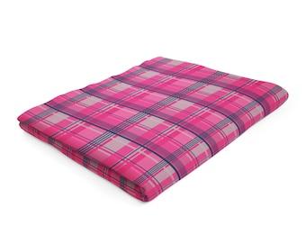 Pink Fleece Blanket, Raspberry Tartan Blanket, Plaid Throw Blanket, Pink Navy Blanket, Pink Grey Throw, Pink Check Blanket, Hot Pink Throw