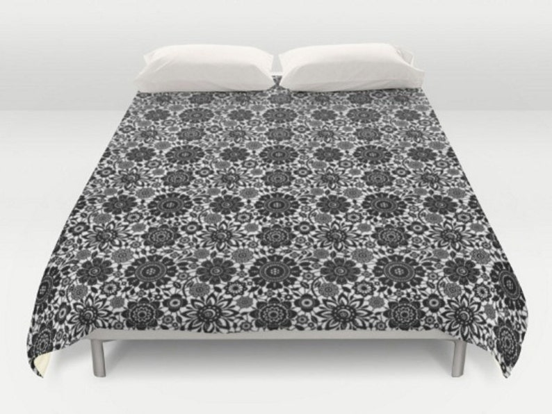 Black White Duvet Cover Floral Bedding Flower Patterned Etsy