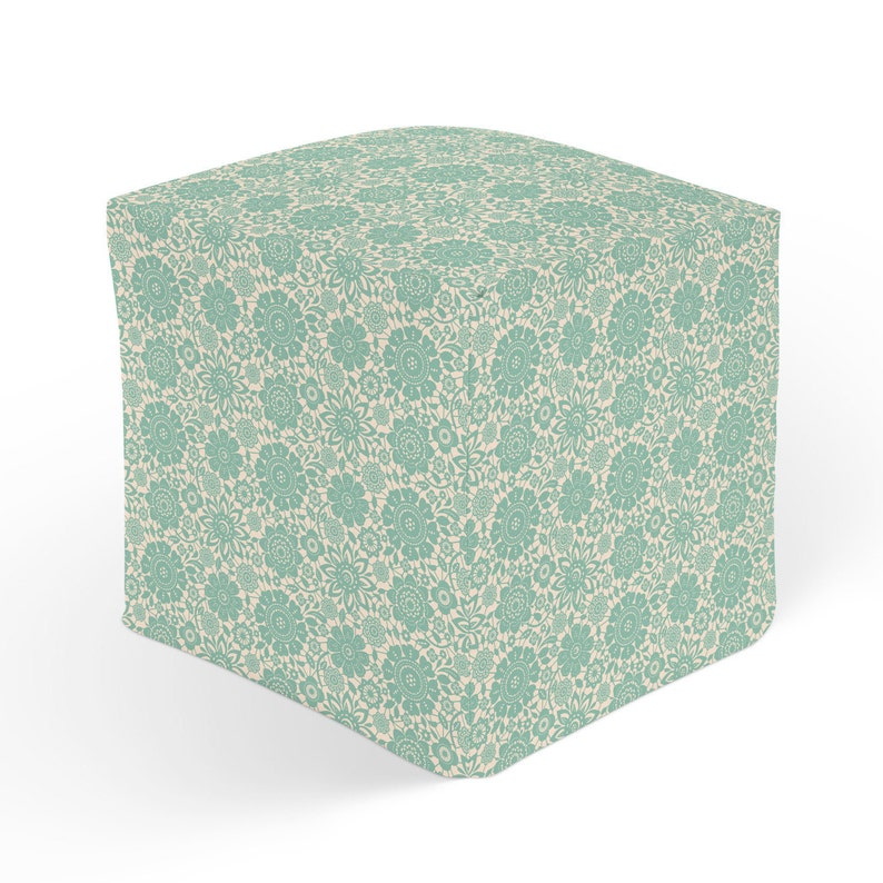 Green White Decor 18x18 Ottoman Green Hassock Cube Pouffe Footrest Floral Ottoman 13x13 Cube Seat Turquoise Pouf Polyester Ottoman