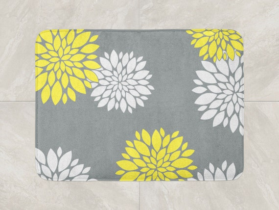 Floral Bath Mat Yellow Grey Bathroom Decor Foam Bath Rug Etsy