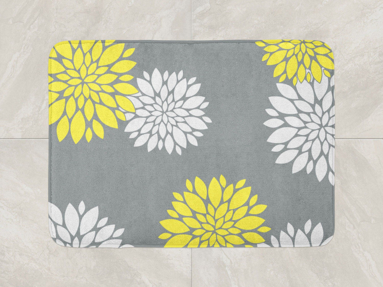 Floral Bath Mat Yellow Grey Bathroom Decor Foam Bath Rug