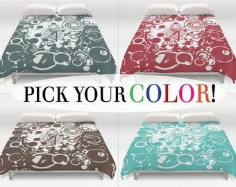 Abstract Bed Cover, Grunge Bedding, Duvet Cover, King Queen Full Twin, Size, Circle Patterned Coverlet, Bubbles Duvet Cover, Double Size