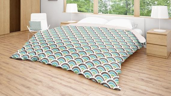 duvet cover pattern bedding blue brown comforter circle. Black Bedroom Furniture Sets. Home Design Ideas