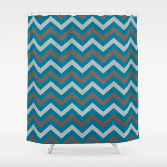 Chevron Shower Curtain Teal Chocolate Grey