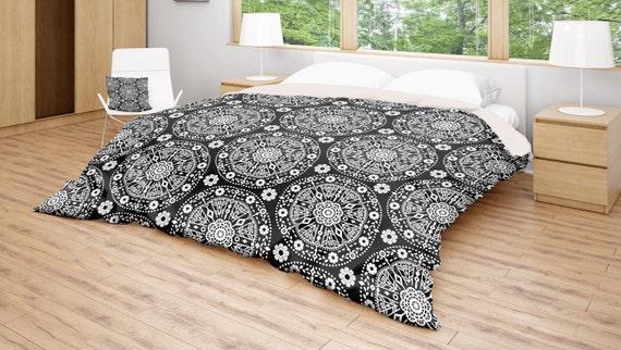 Black White Bedding Boho Duvet Cover Bohemian Bedding