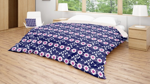 Blue Floral Duvet Boho Duvet Cover Patterned Bedding Pink Etsy