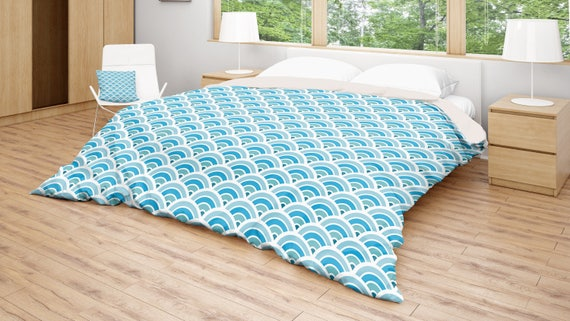 Blue Duvet Cover Blue White Bedding Retro Patterned Bed Etsy