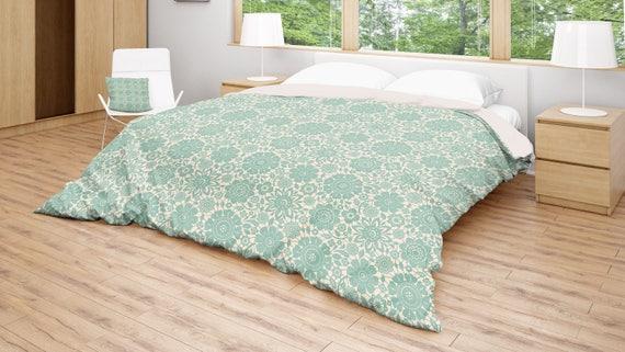 Turquoise Duvet Cover: Floral Duvet Cover Turquoise Bedding Green Cream Duvet