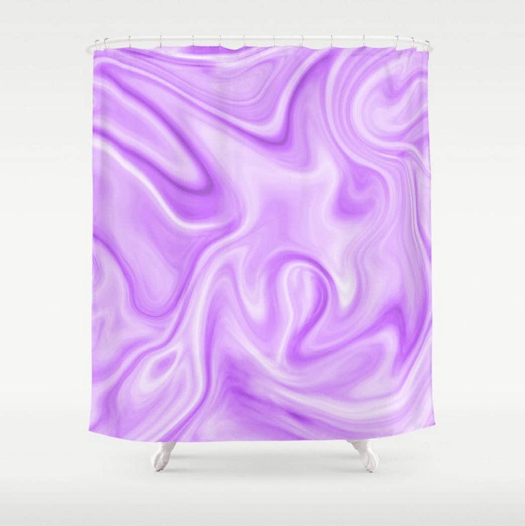 Purple Shower Curtain Abstract Bath White
