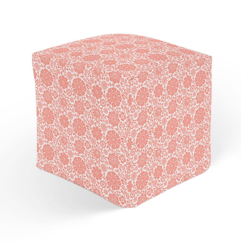 Floral Ottoman Cube Pouf Footrest Polyester Ottoman Pink Etsy