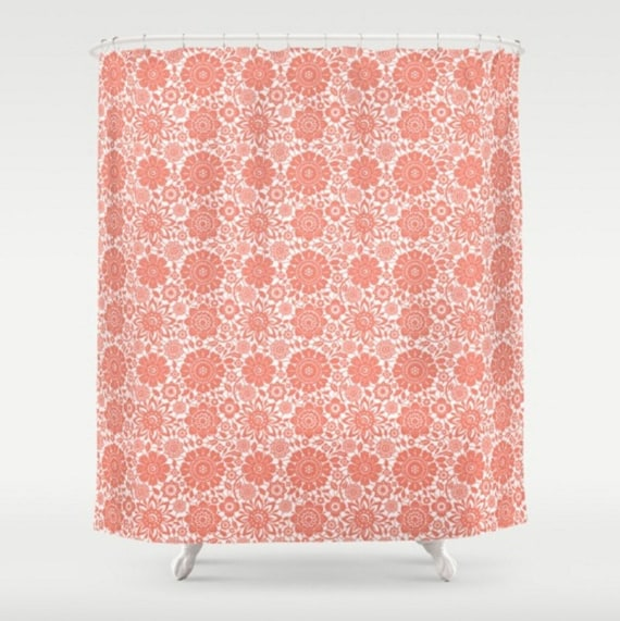 Floral Shower Curtain Large Coral