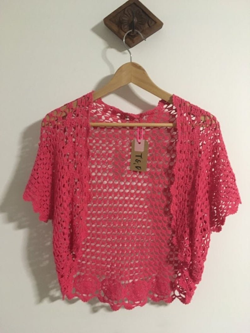 Vintage Fuchsia Pink Boho Hippie Knitted Top