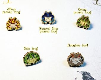"""25mm/1"""" wooden pins: FROGS-Pacman frogs, Pixie frog, mountain toad"""