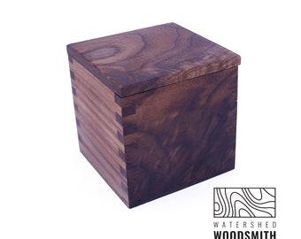 Mini Walnut Wood Salt Cellar   Salt Pig  Sugar Dish   Sugar Bowl   Wooden Box   Salt Box
