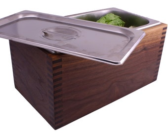 Kitchen Compost Bin   Walnut or Cherry Wood   Odor Free Countertop Composter   Wooden Compost Bin   Kitchen Compost