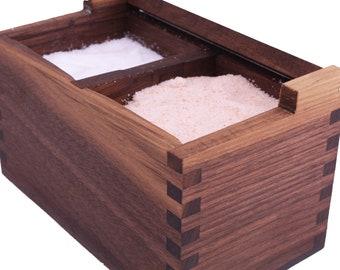 Handmade Salt Cellar   Salt Pig   Salt Cellar with Divider   Walnut Salt Cellar   Kitchen Gift   Kitchen Decor   Salt Keeper