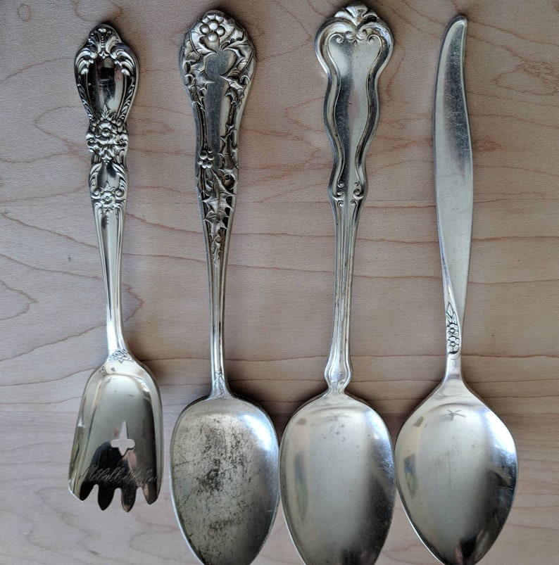 Set of 24 AntiqueVintage Silver Plate Flatware Mixed Spoons Jewelry Craft Supplies Lot