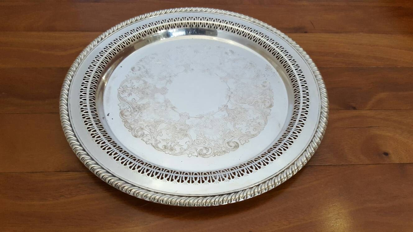 Antique Wm Rogers Son Silver 3370 Round Reticulated Pierced